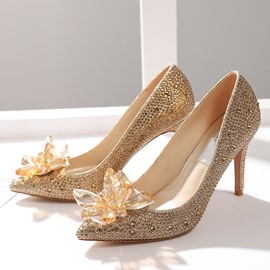 Ericdress Slip-On Rhinestone Pointed Toe Low-Cut Upper Thin Shoes