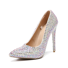 Ericdress Rhinestone Slip-On Pointed Toe Banquet Thin Shoes