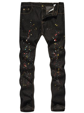 Ericdress Paint Splatters Color Block Straight Zipper European Jeans