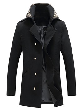 Ericdress Mid-Length Embroidery Lapel Slim Single-Breasted Men's Coat