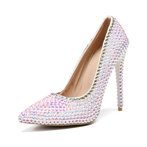 Ericdress Pointed Toe Rhinestone Stiletto Heel 12cm Thin Shoes