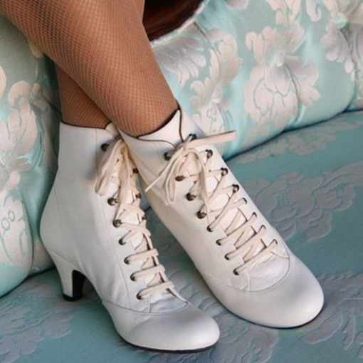 Ericdress Lace-Up Front Plain Round Toe Cotton Boots
