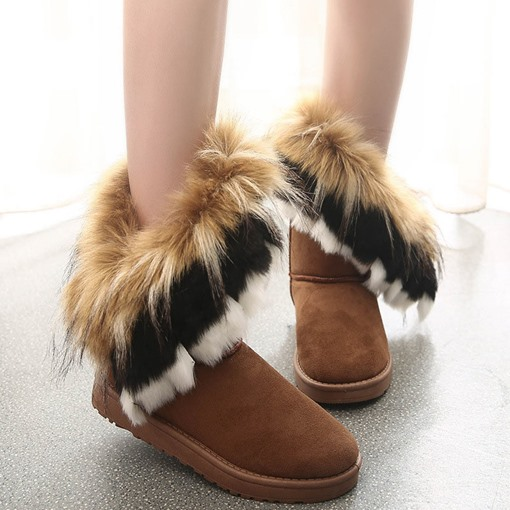 Ericdress Flat With Round Toe Slip-On Short Floss Boots