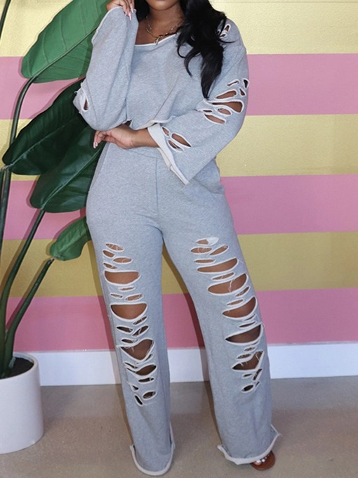 Ericdress Plain Hoodie Casual Straight Pullover Two Piece Sets