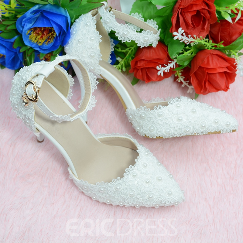 Ericdress Line-Style Buckle Pointed Toe Beads 9cm Thin Shoes