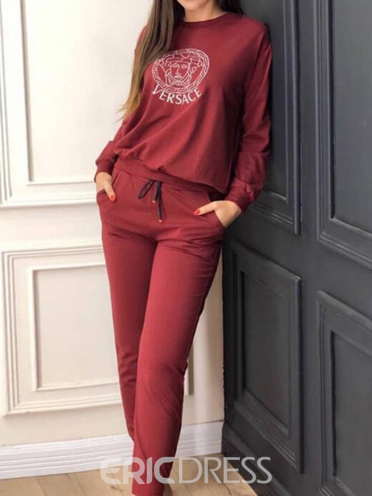Ericdress Hoodie Pocket Geometric Round Neck Pullover Two Piece Sets