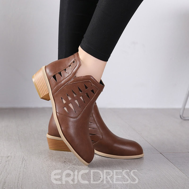 Ericdress Back Zip Pointed Toe Plain Simple Boots