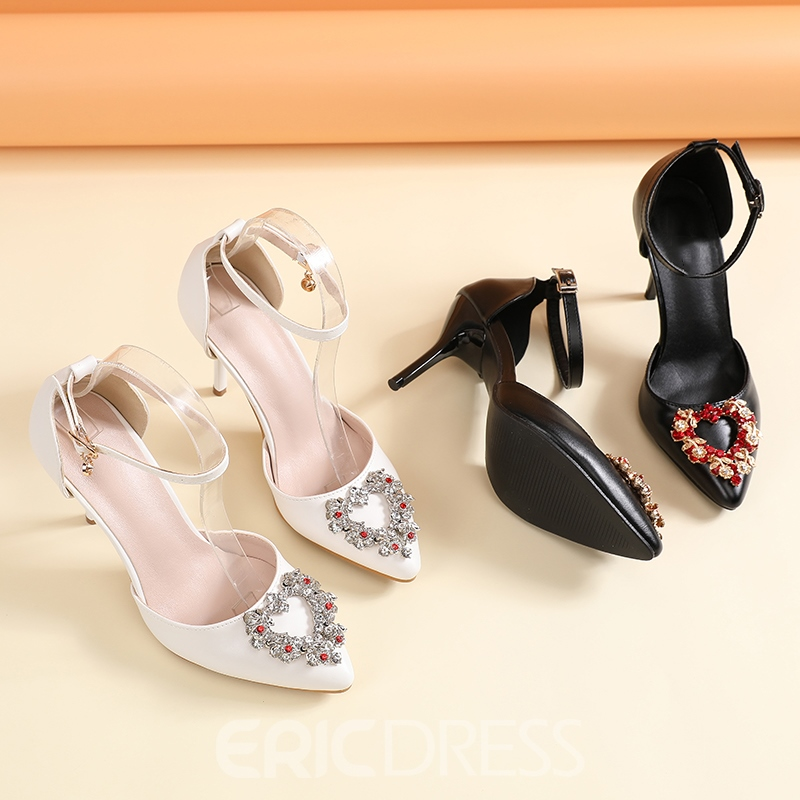 Ericdress Rhinestone Pointed Toe Line-Style Buckle Plain Thin Shoes