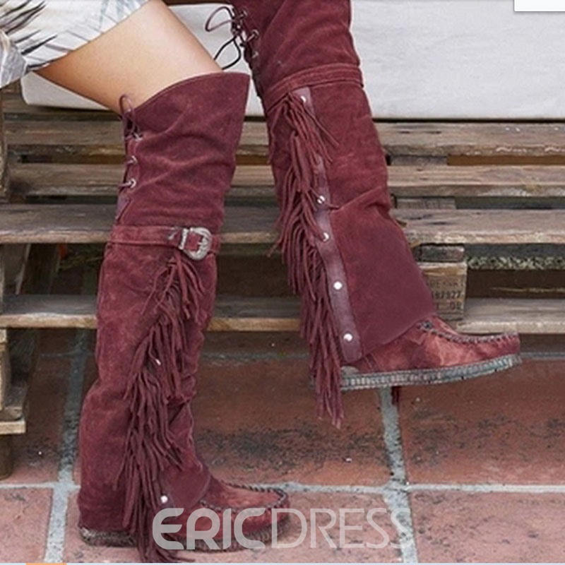 Ericdress Lace-Up Back Plain Flat With Cotton Boots