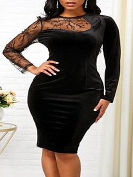 Ericdress Plus Size Knee-Length Round Neck Asymmetric Office Lady High Waist Dress