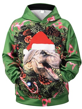 Ericdress Christmas Print Animal Pullover Hooded Fall Hoodies