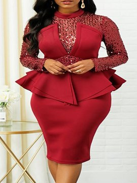 Ericdress Mode Patchwork Shirt Bodycon Pullover zweiteilige Sets