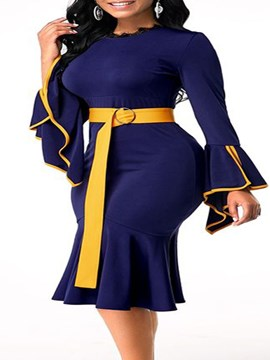 Ericdress Plus Size Mid-Calf Patchwork Long Sleeve Flare Sleeve Color Block Dress