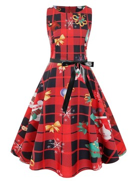 Ericdress Christmas Round Neck Print Mid-Calf Sweet Pullover Dress