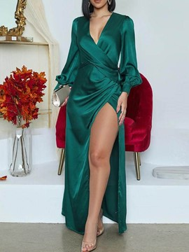 Ericdress V-Neck Floor-Length Long Sleeve Lantern Sleeve A-Line Dress
