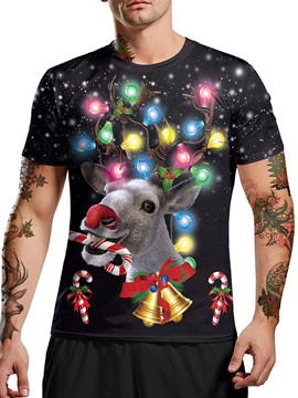 Ericdress European Round Neck Animal Pullover Christmas Short Sleeve T-shirt