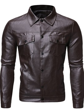 Ericdress Standard Plain Lapel Slim European Leather Jacket