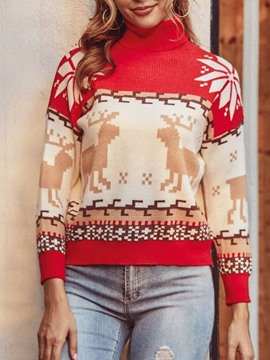 Ericdress Christmas Patchwork Thin Turtleneck Winter Sweater