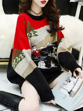 Ericdress Christmas Thick Regular Embroidery Long Sleeve Loose Sweater