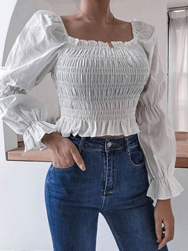 Ericdress Square Neck Plain Pleated Short Long Sleeve Blouse