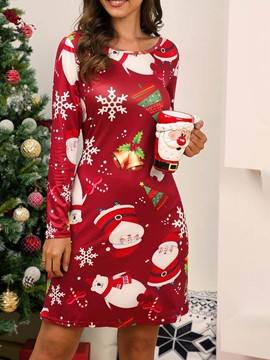 Ericdress Christmas Print Above Knee Round Neck Cartoon A-Line Dress