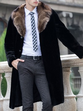 Ericdress Mid-Length Single-Breasted Straight Coat