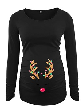 Ericdress Christmas Maternity Mid-Length Long Sleeve Straight Fall T-Shirt