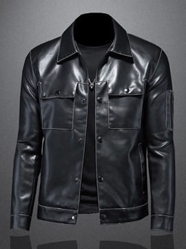 Ericdress Plain Standard Lapel Spring Single-Breasted Leather Jacket