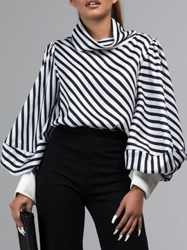 Ericdress Lantern Sleeve Stripe Long Sleeve Standard Blouse