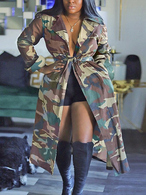 Ericdress Print Long Lace-Up Straight Long Sleeve Trench Coat