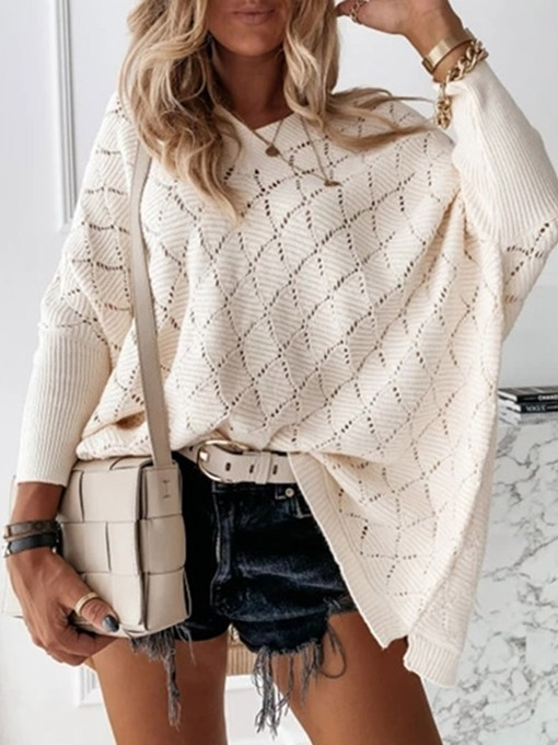 Ericdress Batwing Sleeve Thin Hollow Fall Long Sleeve Sweater