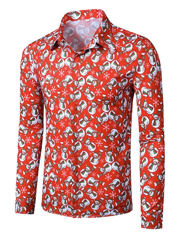 Ericdress Lapel European Print Fall Slim Shirt