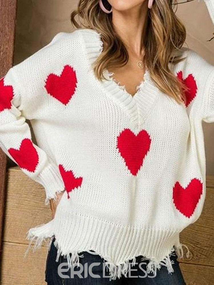 Ericdress Christmas Thin Patchwork V-Neck Long Sleeve Sweater