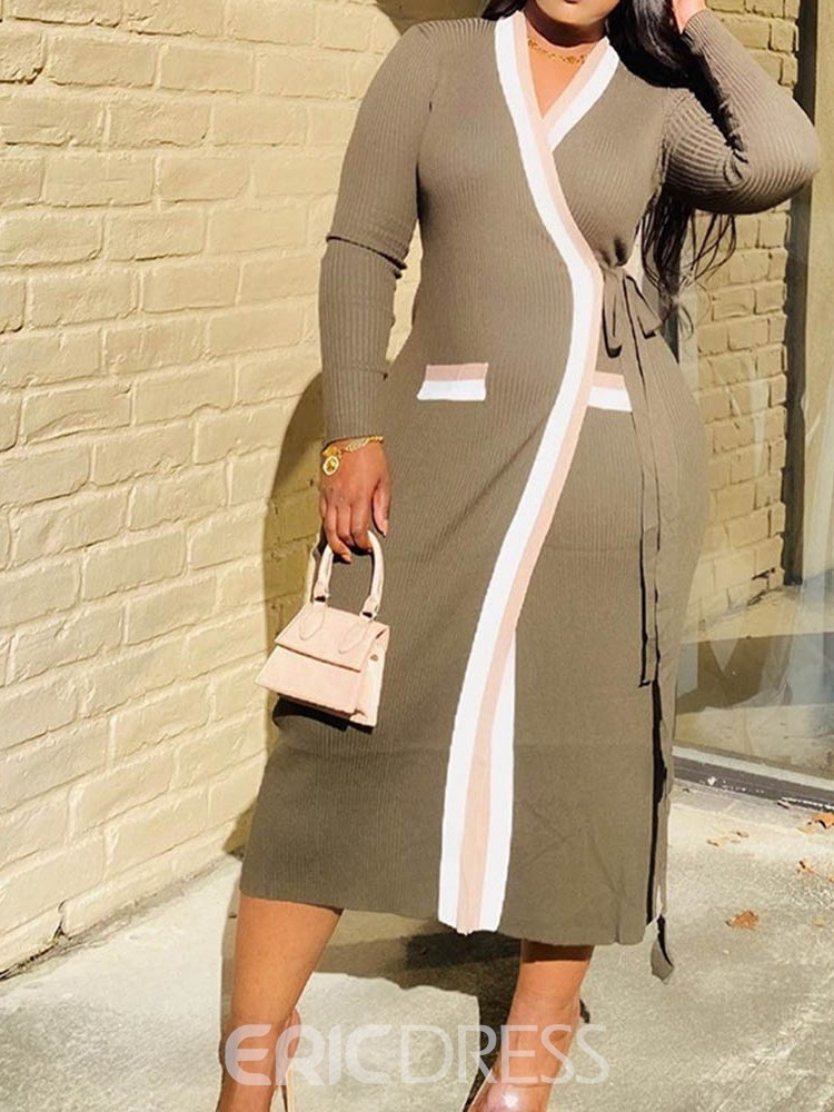 Ericdress Mid-Calf Patchwork Long Sleeve Date Night/Going Out Stripe Dress