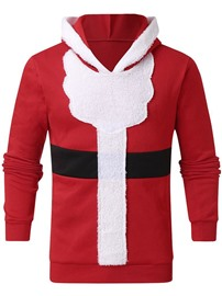Ericdress Christmas Fleece Color Block Pullover Hooded Casual