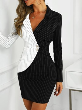 Ericdress Long Sleeve Above Knee Patchwork Wear to Work/Workwear Bodycon Dress