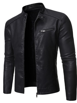 Ericdress Stand Collar Plain Standard Slim Zipper Leather Men's Jacket