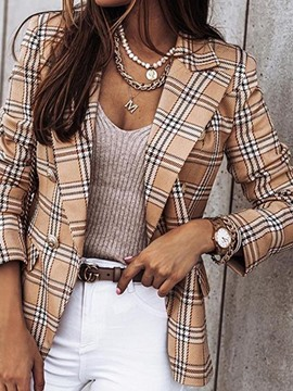 Ericdress Long Sleeve Plaid Lapel Standard Fall Casual Blazer