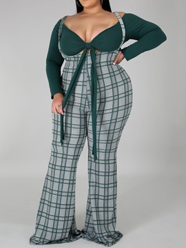 ericdress plaid sexy t-shirt bellbottoms ensembles deux pièces