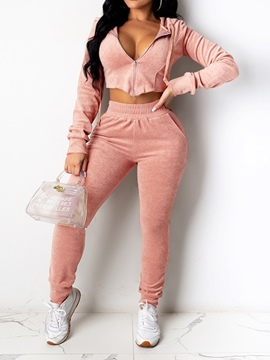 Ericdress Plain Sports Hoodie Zipper Pencil Pants Two Piece Sets