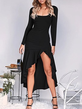 Ericdress Long Sleeve Asymmetric Scoop Asymmetrical Plain Dress