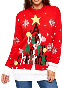 Ericdress Patchwork Christmas Long Sleeve Sweater