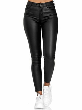 Ericdress Pocket Plain Skinny Ankle Length Mid Waist Casual Pants