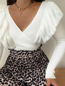 Ericdress Patchwork V-Neck Long Sleeve Sweater