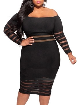 Ericdress Mid-Calf Off Shoulder Long Sleeve Fall Plus Size Dress