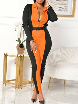 Ericdress Sexy Color Block Zipper Pencil Pants Skinny Jumpsuit