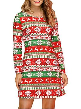 Ericdress Christmas Above Knee Round Neck Long Sleeve Mid Waist Party/Cocktail Dress