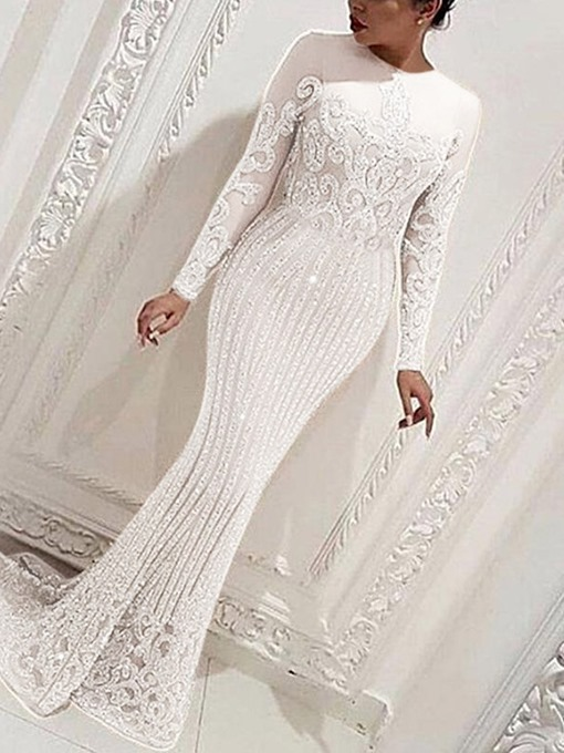 Ericdress Floor-Length Long Sleeve Round Neck Plant Pullover Dress