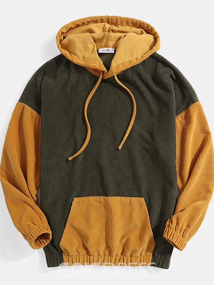 Ericdress Pullover Color Block Pocket Pullover Men's Hoodies