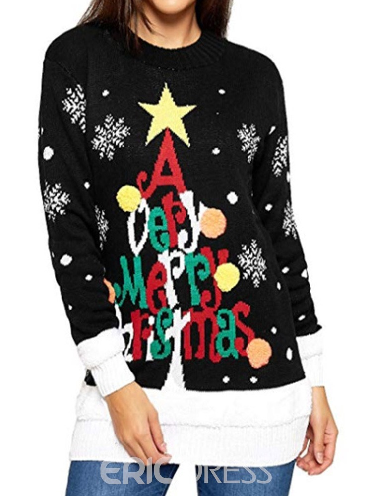 Ericdress Patchwork Winter Mid-Length Christmas Women's Sweater
